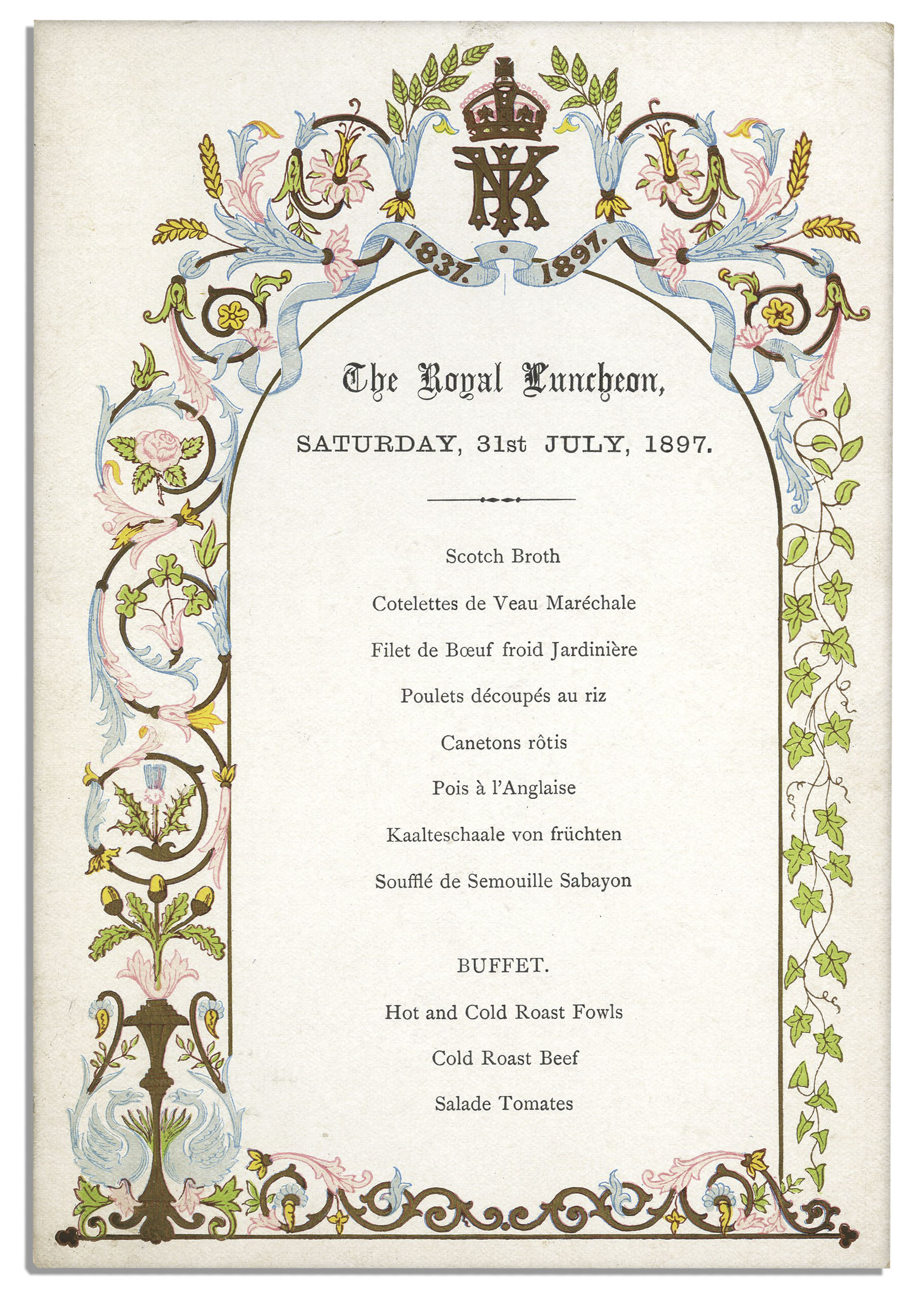 Lot Detail Royal Luncheon Menu From Queen Victorias