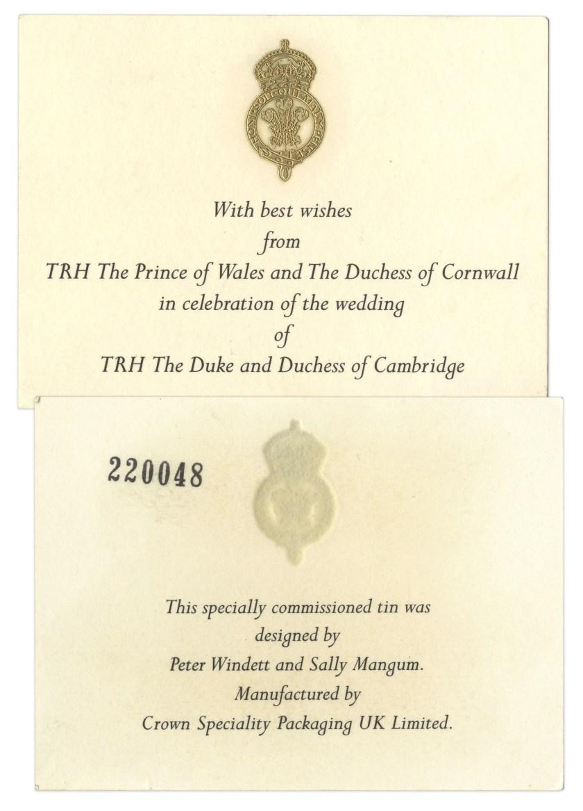 Prince William Princess Kate Wedding Cake Slice Ho In Beautiful Memorative Tin