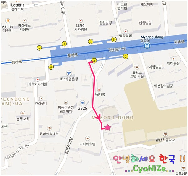 TwoTwo Chicken Myeong-dong Map