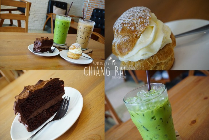 Choux Cream, Choc Truffle, Iced Green Tea Latte and Caffee Latte at Polar Boulangerie and Patisserie | Chiang Rai