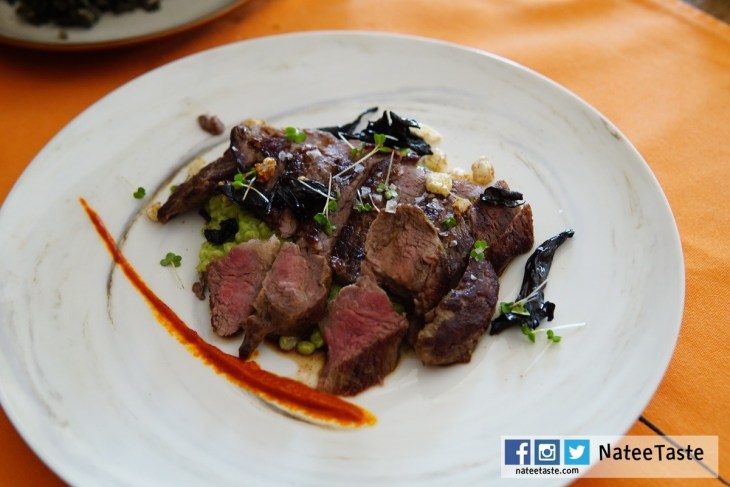 Grilled iberico pluma, creamy rocket barley, piquila and black trumpet 990++ บาท
