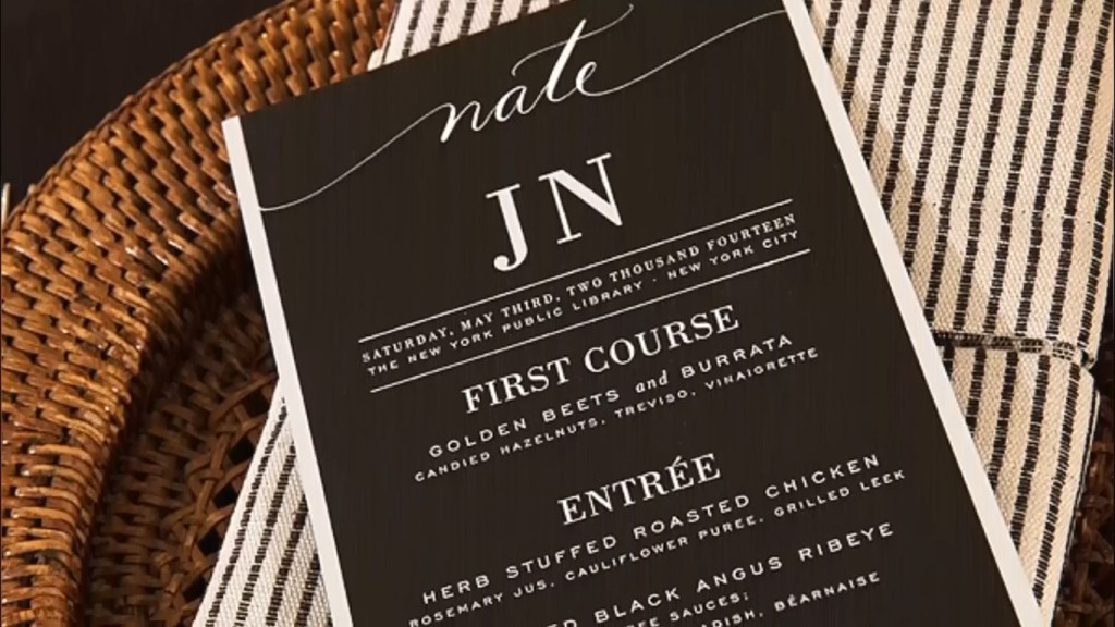 Nate and Jeremiah Wedding Food Menu