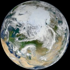 All the images in this gallery come from NASA's Earth-observing satellite Suomi NPP. This one showing the striking differences in the landscapes of the icy Arctic, deserts of Africa and southern Asia, and the green, green grass of Europe. (Compare this image of the Arctic Circle with the diagram provided by the Flat Earth Society.) Image courtesy NASA/GSFC