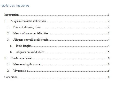 Table des matières automatique