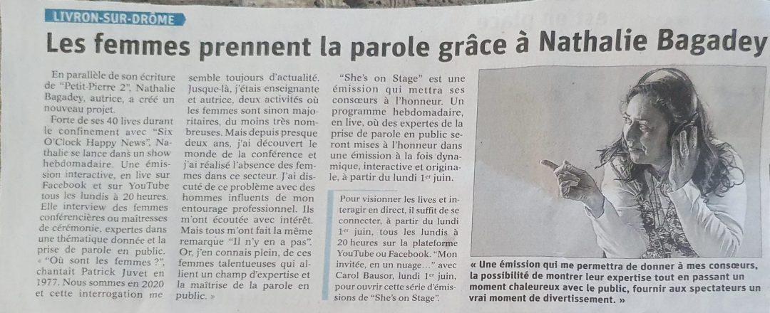 Article paru dans le Dauphiné Libéré en mai 2020