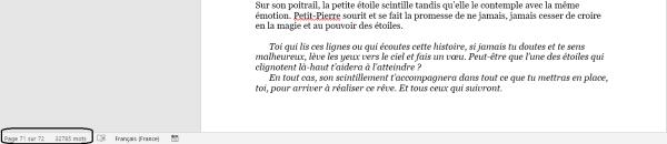 Dernière page du manuscrit où l'on peut lire 72 pages et 32785 mots