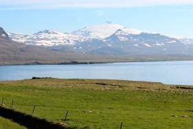 le bout de la péninsule, on aperçoit le Le Snæfellsjökull (1446m)