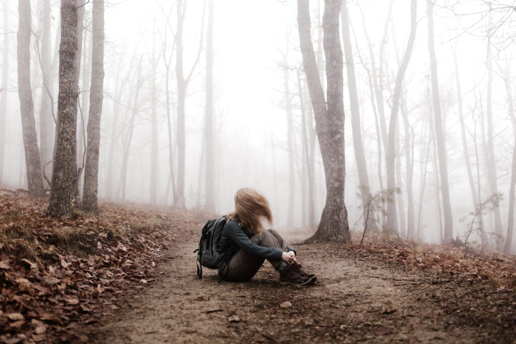 girl lost in the forest