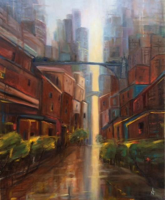 peinture à l'huile ,couleurs floutées atmosphère ambiance picturale perspective peinte d'une ville