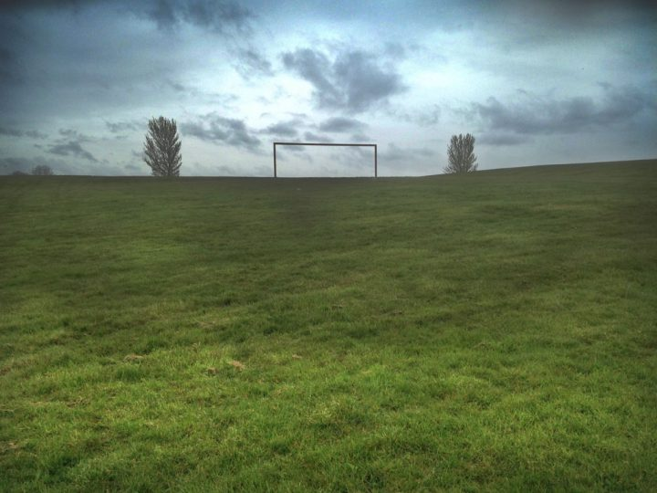 Goal posts up a hill