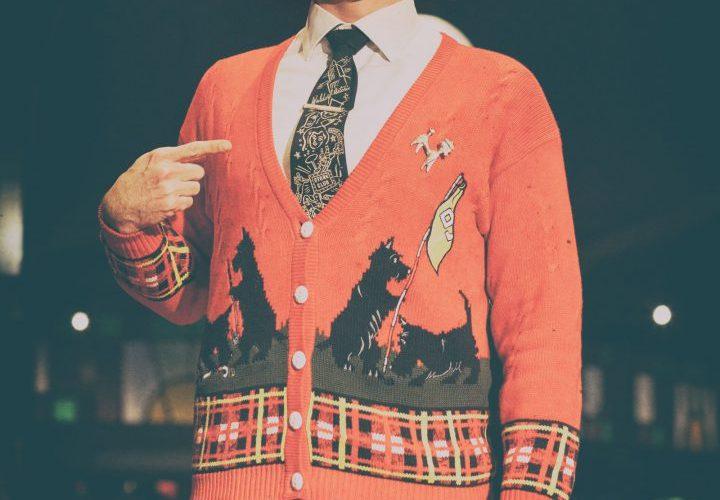 Asher Treleaven in Christmas cardigan