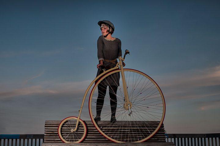 Francesca Penny Farthing on Hastings Pier