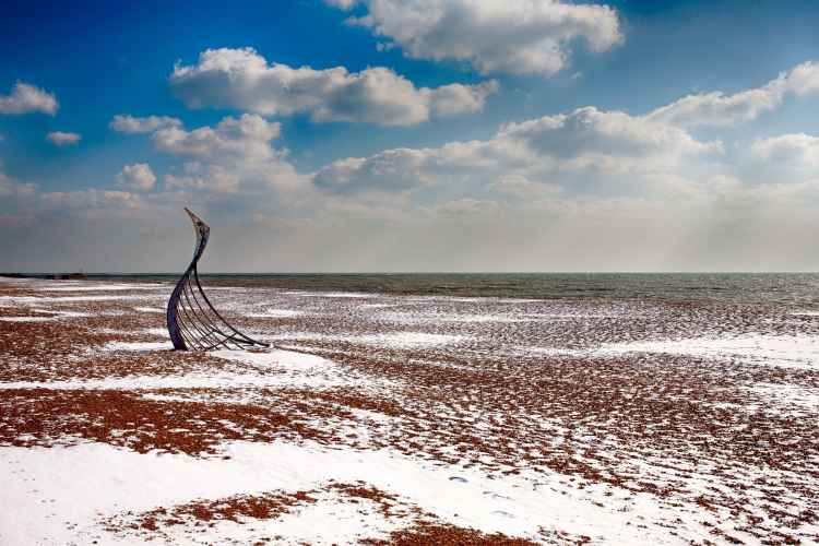 The Landing, Hastings Beach sculpture by Leigh Dyer, photograph by Nathan Thomas Jones