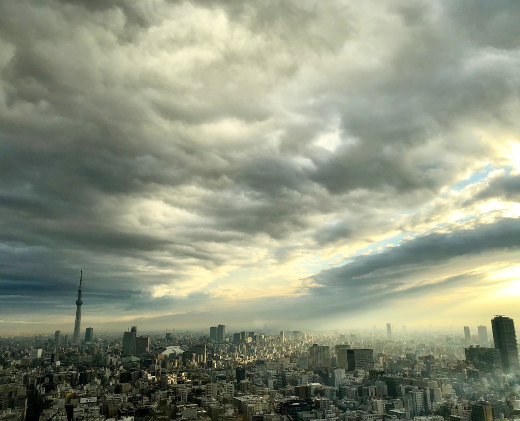 Photograph of Japan's skyline.