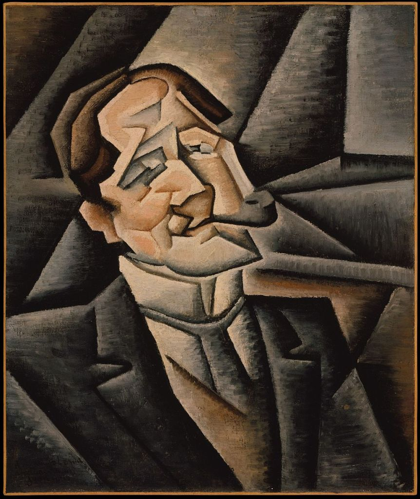Cubist painting of a man with a pipe by Juan Gris