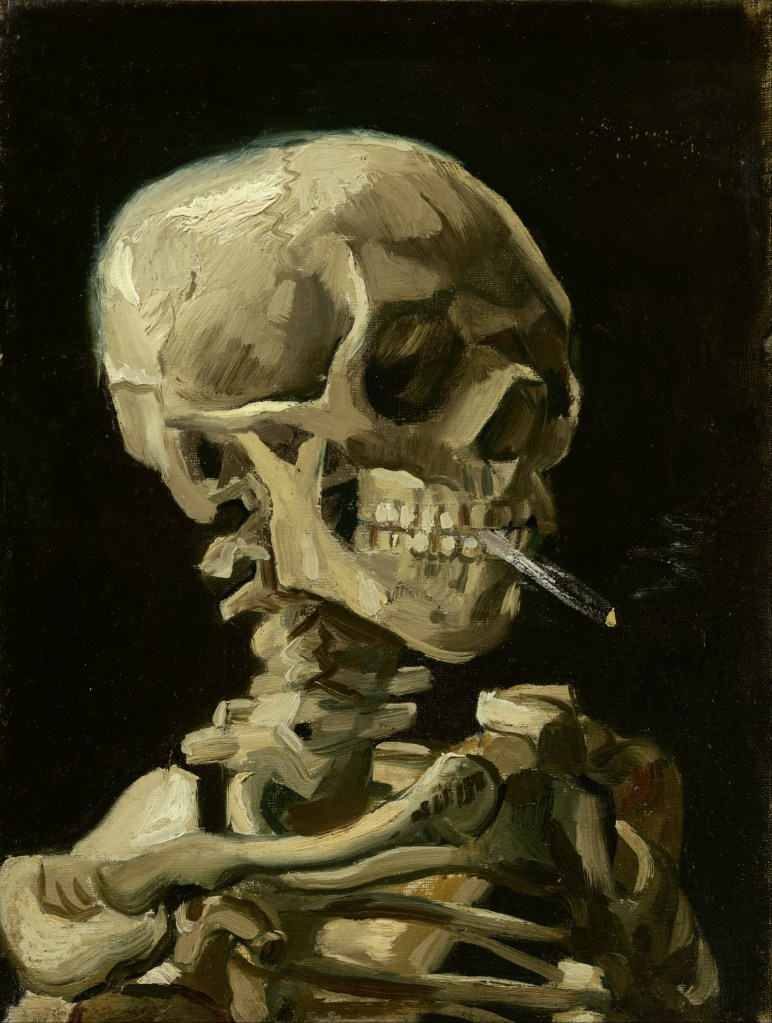Painting of a skeleton smoking a cigarette by Vincent Van Gogh