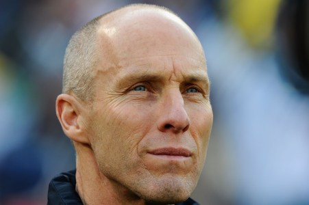 PRETORIA, SOUTH AFRICA - JUNE 23: Bob Bradley head coach of the USA looks thoughtful ahead of the 2010 FIFA World Cup South Africa Group C match between USA and Algeria at the Loftus Versfeld Stadium on June 23, 2010 in Tshwane/Pretoria, South Africa. (Photo by Kevork Djansezian/Getty Images)