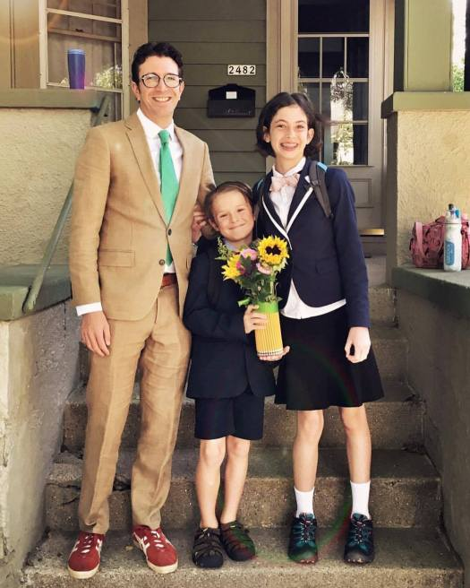 From left to right, that's Nathaniel Stern, Jack Cooney, and Sidonie Ridgway Stern. Photo by Mary Catherine Cooney. First day of school, Fall 2017!