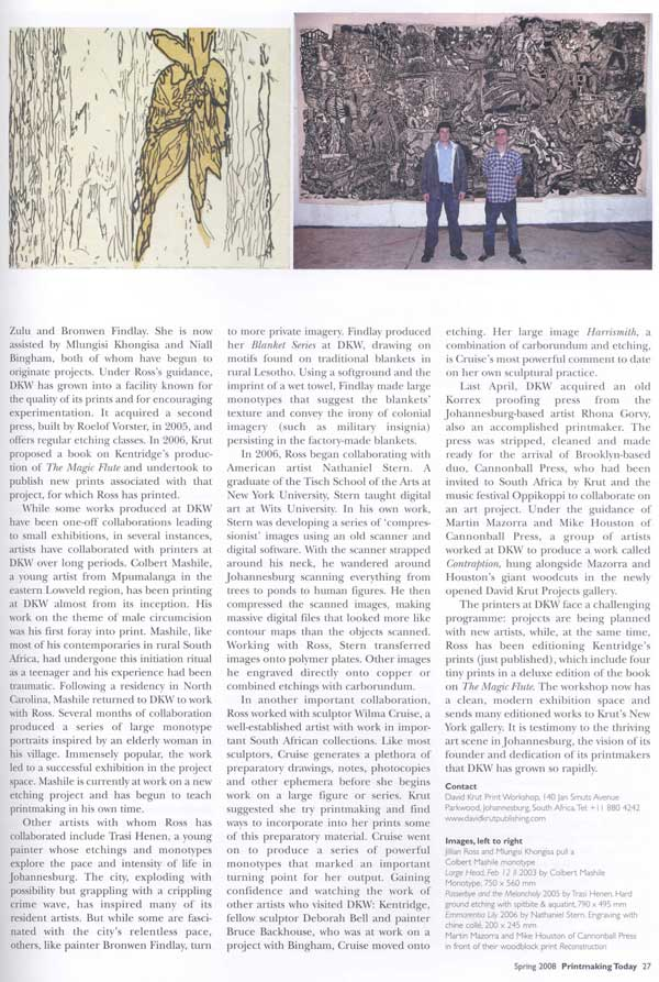Nathaniel Stern / David Krut in Printmaking Today magazine