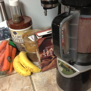Mixing up my smoothie in the Ninja
