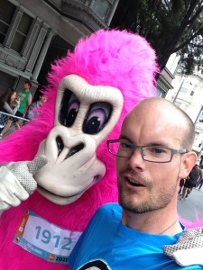 Photograph selfie at Bay to Breakers 2014 with the mascot, Ape Hashbury.