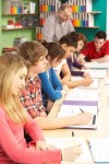 teenage students in a classroom