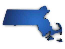 Massachusetts blue map