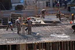 men working at construction site