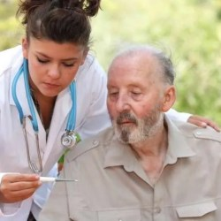 home care worker with elderly man