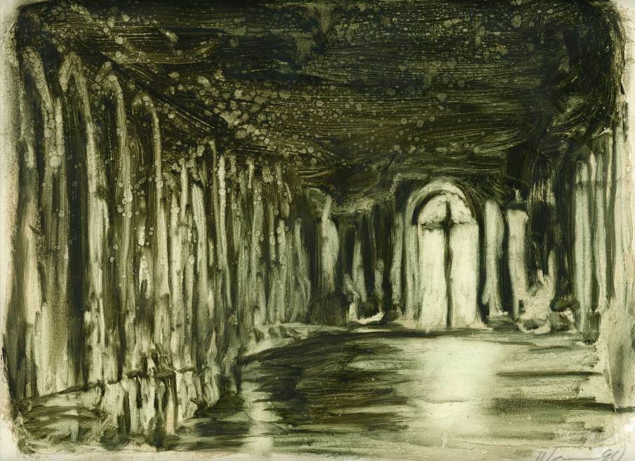 The Hall of Mirrors (study), oil on paper, 9 X 12, 1990