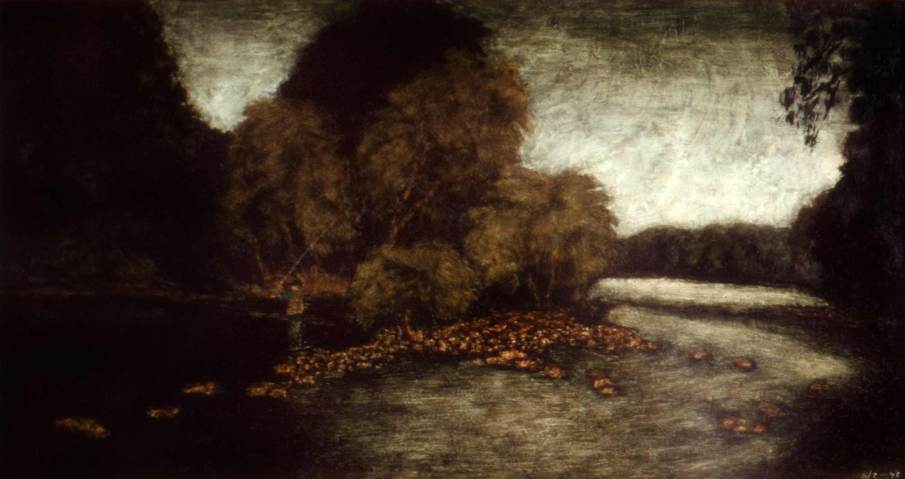 Fisherman on the Little Juniata, oil on panel, 6 X 12, 1992, private collection