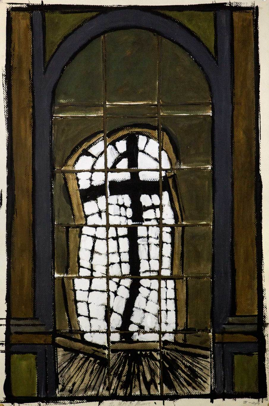 The Hall of Mirrors, acrylic and oil on paper, 40 X 30, 1989