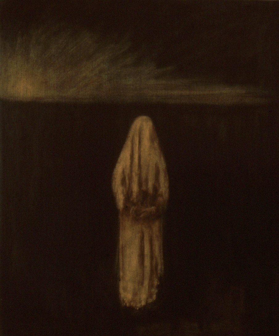 """The Sentinel, oil and beeswax on canvas, 24\"""" x 20\"""". 1990"""