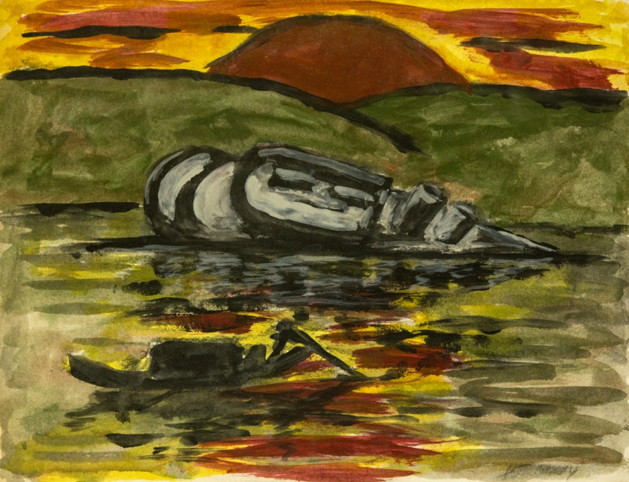 The Sinking of the Panay, watercolor on paper, 14 X 16, 1987