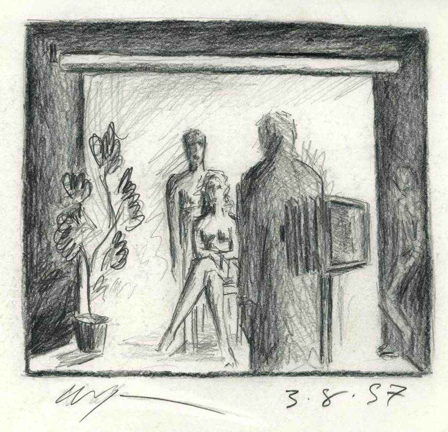 Studio Scene with Couple and Assistant, graphite on paper, 7 X 8, 1997