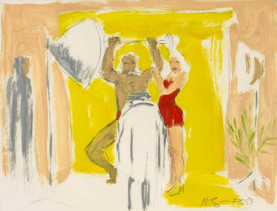 Studio Scene with Weightlifter, mixed media on paper, 16 X 20, 1993
