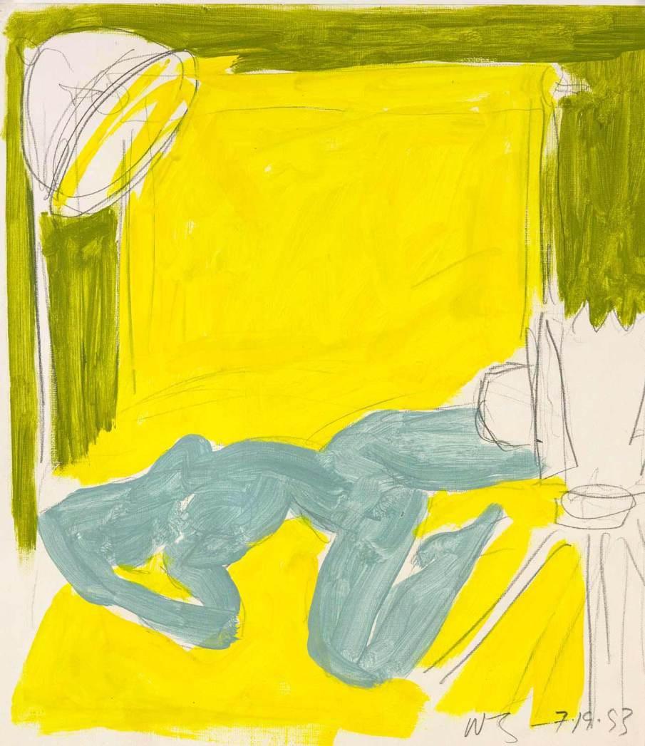 Studio Scene with Blue Nude,  mixed media on paper, 16 X 14, 1993