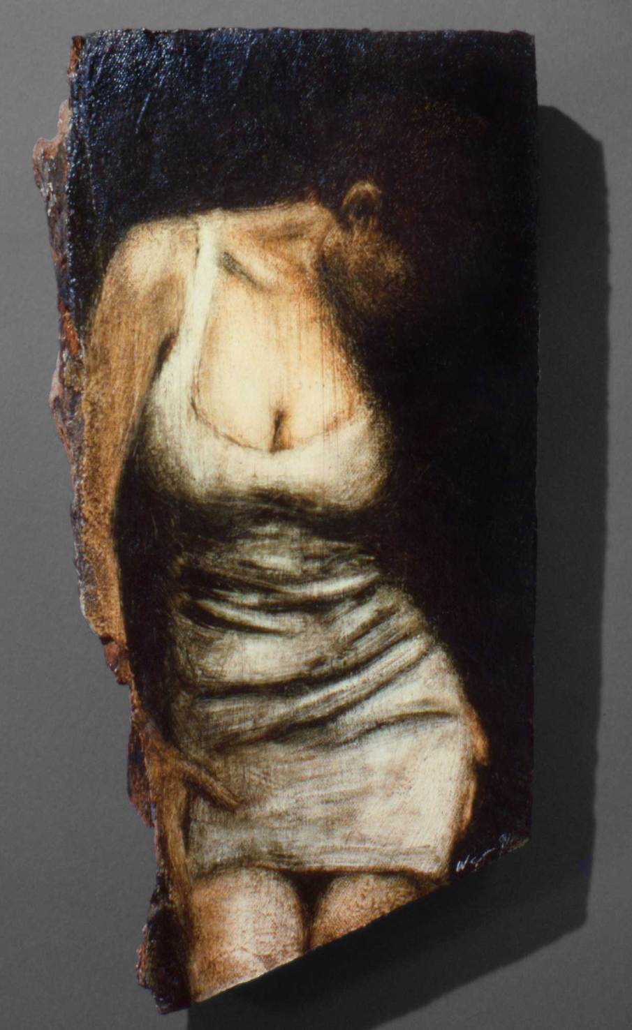 Woman, oil on wood, 10 inches tall, 191, private collection