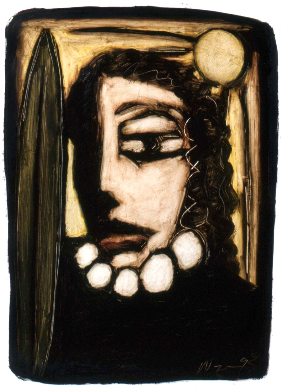 Face No. 1.7, oil on paper, 16 X 12, 1993