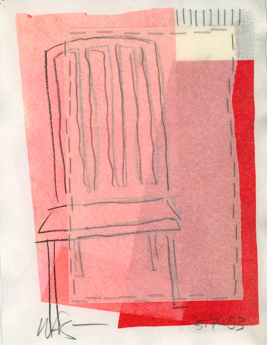 Pink Chair, mixed media on paper, 12 X 9, 2003