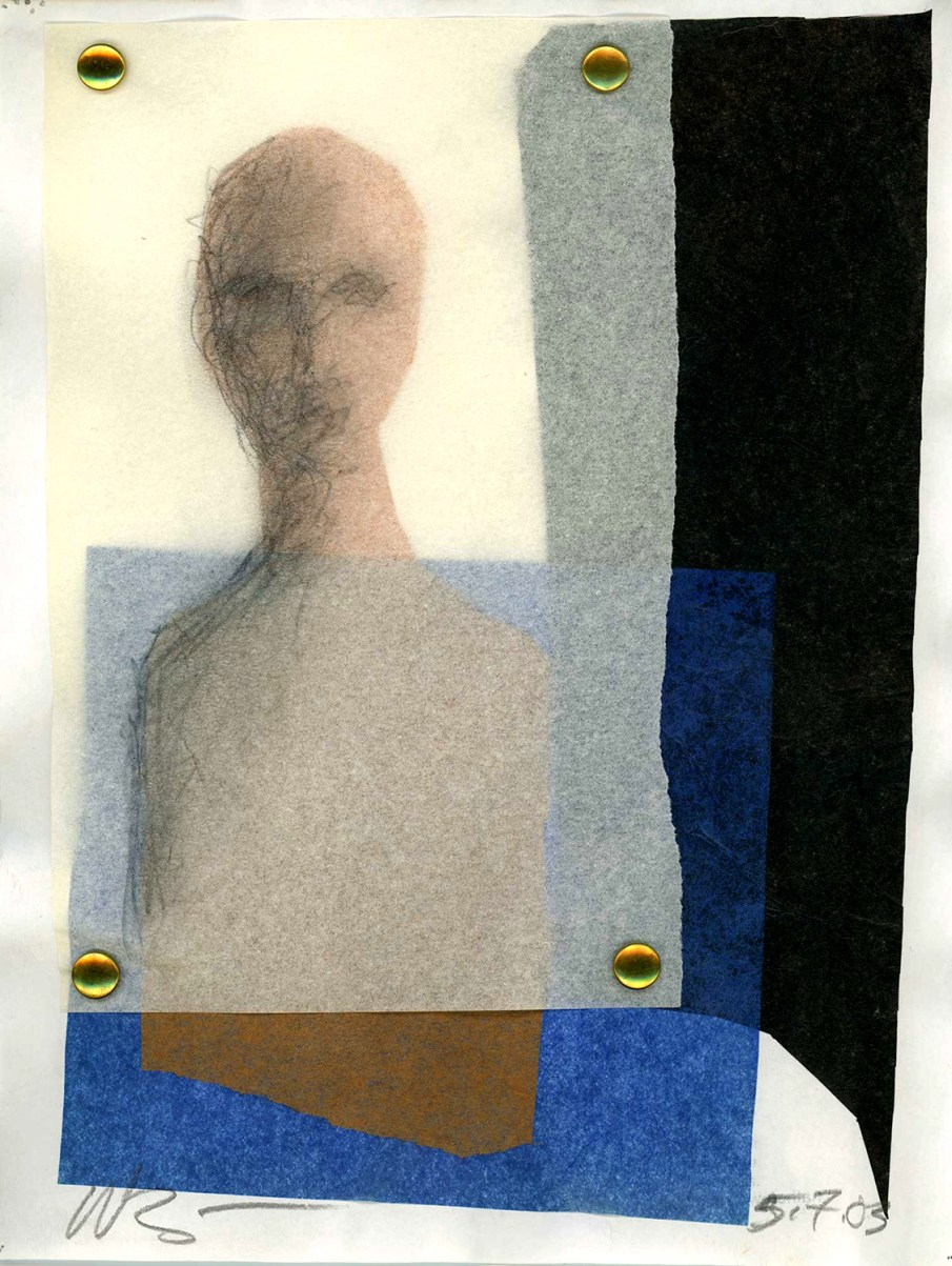 Veiled Figure, tissue paper and mixed media on paper, 11 X 8, 2003