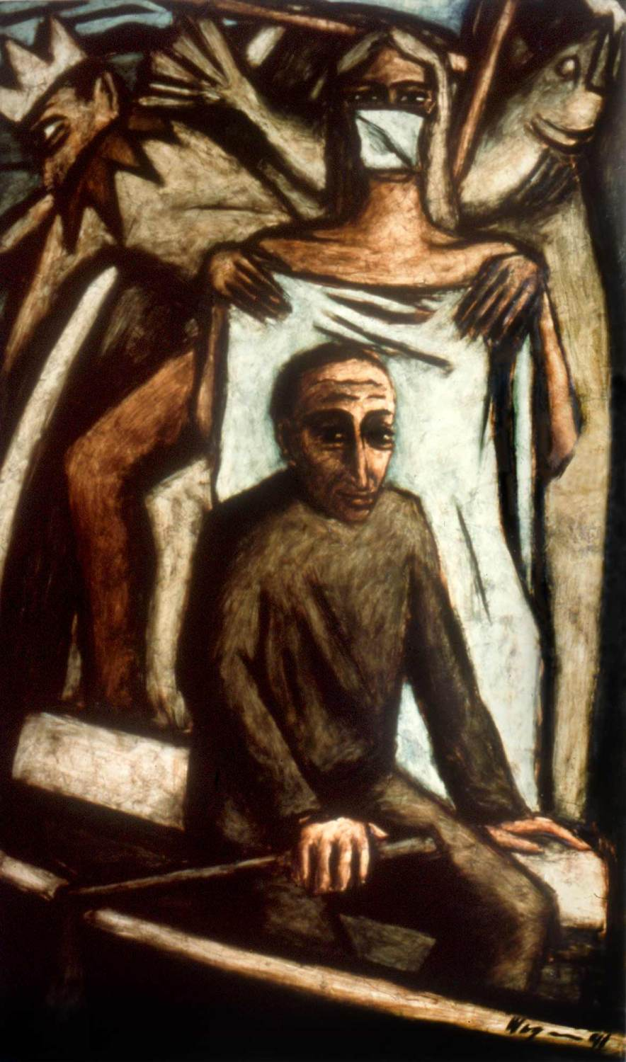 Narrenschiff, oil on panel, 48 X 36, 1991, destroyed