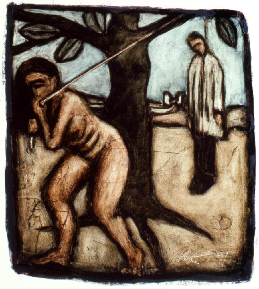 The Hanging Man, oil on paper, 11 X 11, 1991, private collection