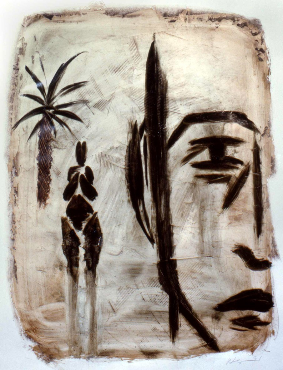 Man, Palm and Figure, oil on paper, 16 X 11, 1991