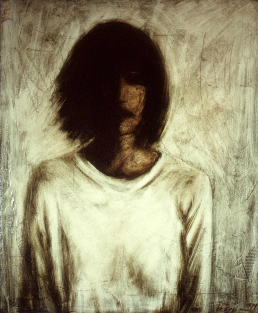 Woman in a White Shirt, oil on canvas, 24 X 20, 1991, private collection