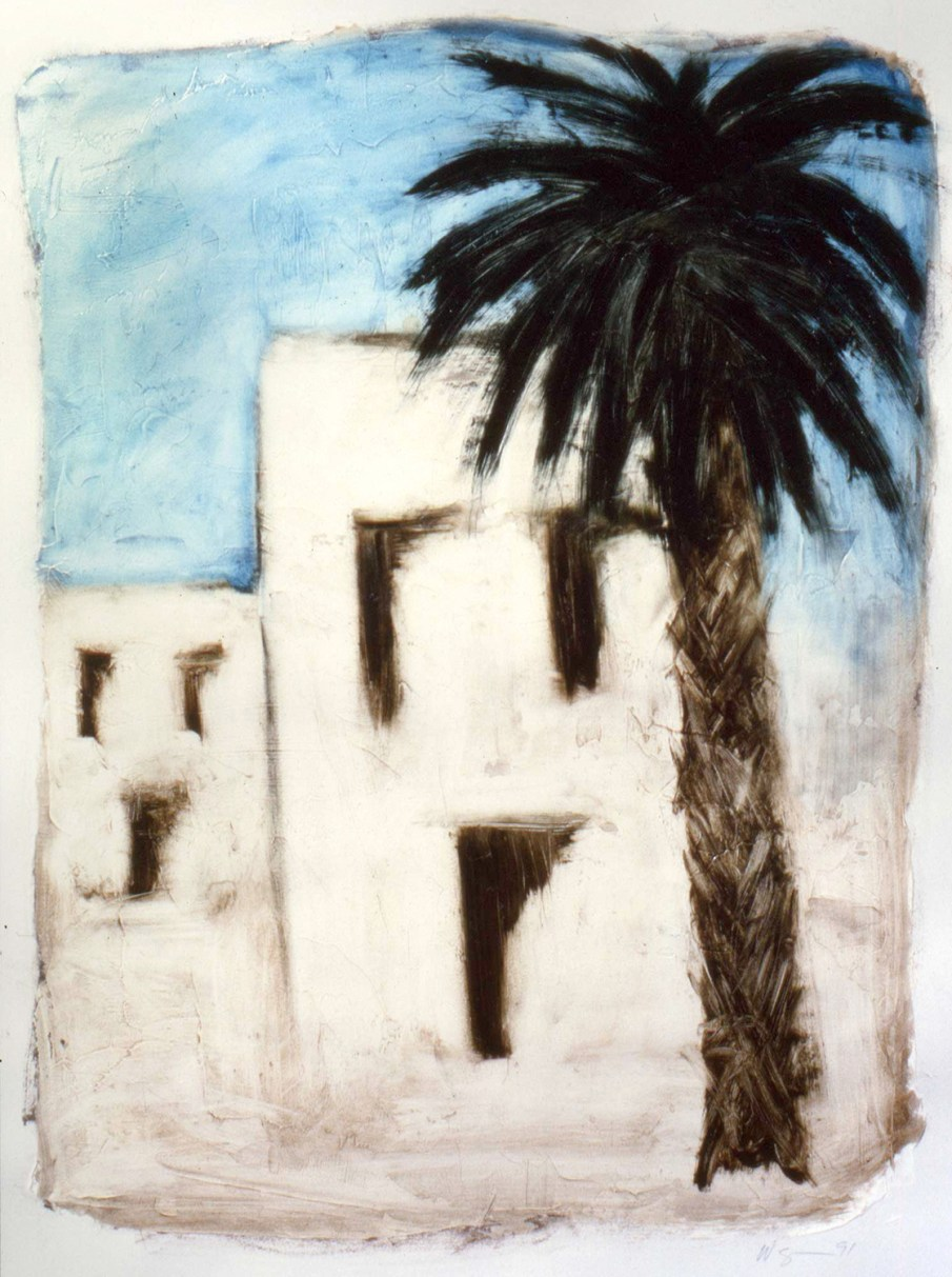 Palm Tree and Houses, oil on paper, 12 X 10, 1991