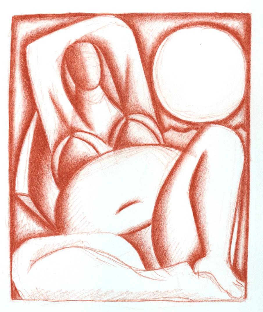 Sunbather, pencil on sketchbook page