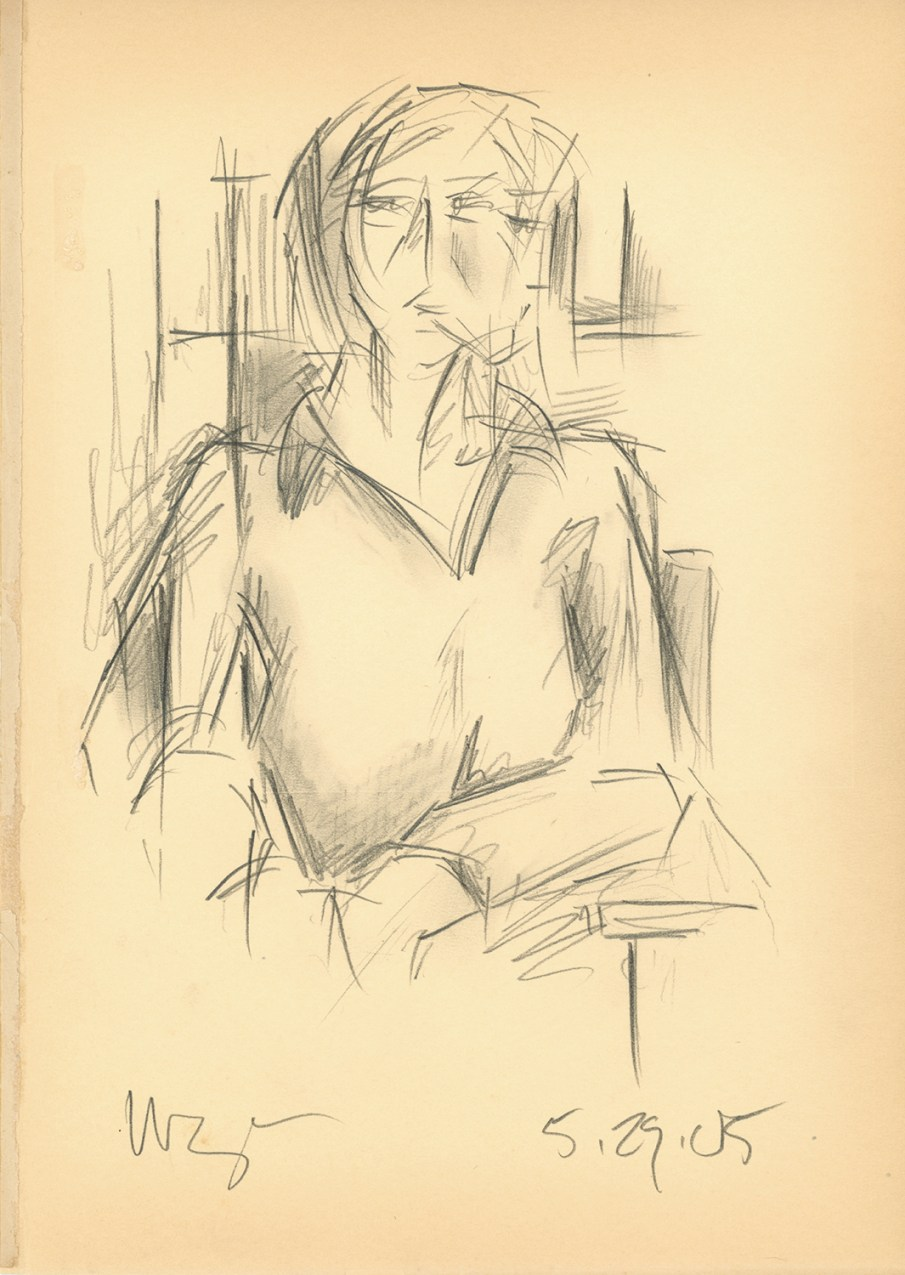Seated Woman, graphite on book page, 11 X 8, 2005