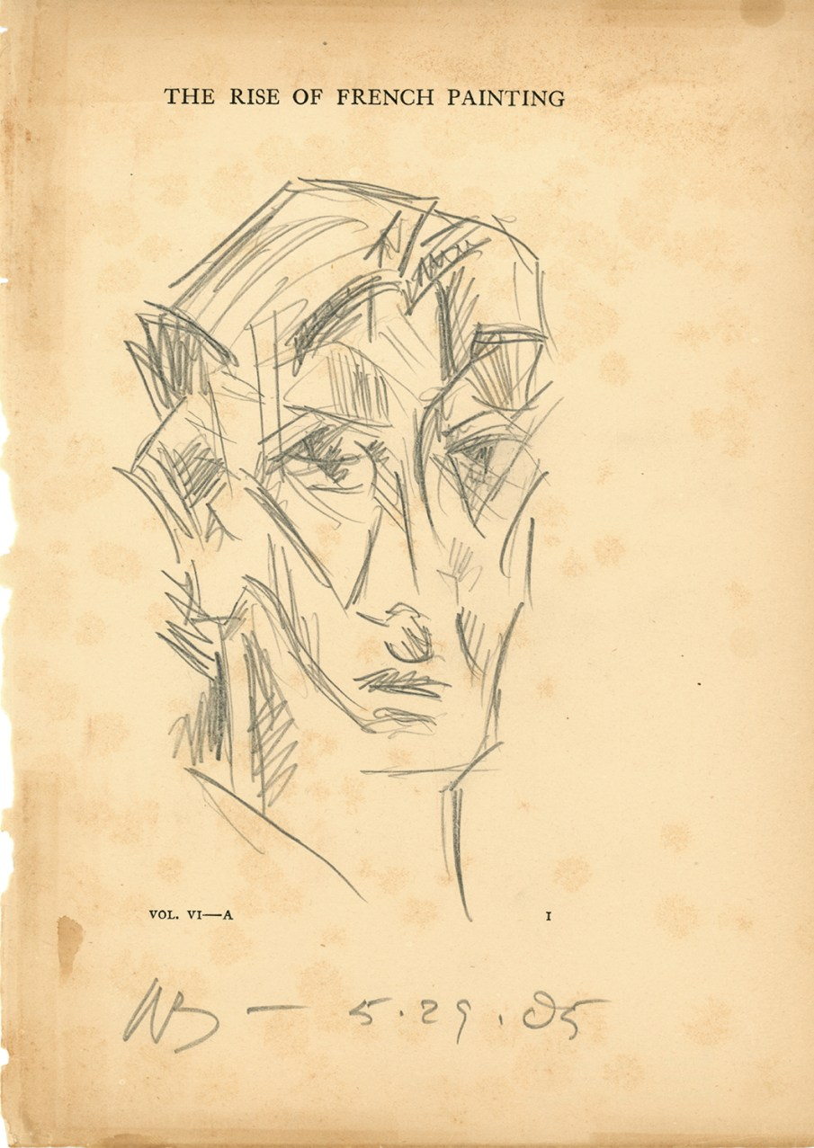 Face of a Man, graphite on book page, 11 X 8, 2005