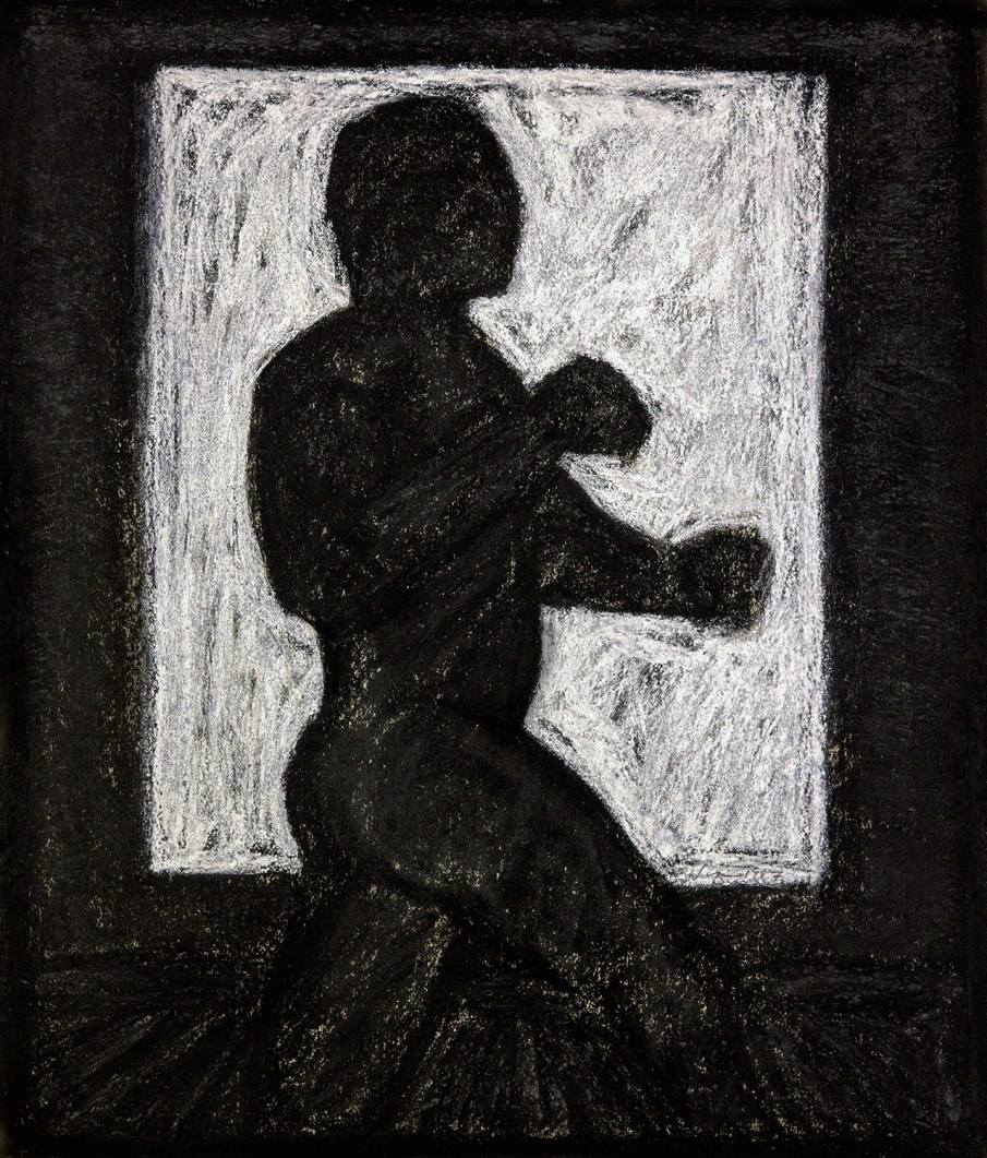 The Boxer - after Muybridge, pastel on paper, 16 X 14, 1987